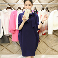 Fashion High Neck Soft Knitted Cotton Maternity Dress 2016 Autumn & Winter Bow Clothes for Pregnant Women Pregnancy Clothing XL