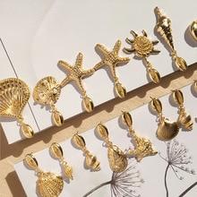 Trendy Gold Starfish Conch Dangle Drop Earrings for Women 2019 Ocean Cowrie Sea Shell Earring Bohemian Beach Jewelry Brincos цена
