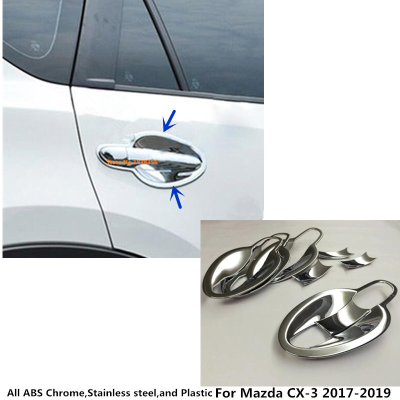 Top Sale For <font><b>Mazda</b></font> CX-3 <font><b>CX3</b></font> 2017 2018 <font><b>2019</b></font> 2020 Car Body Detector Trims ABS Chrome External Door Bowl Stick Lamp Frame 8pcs image