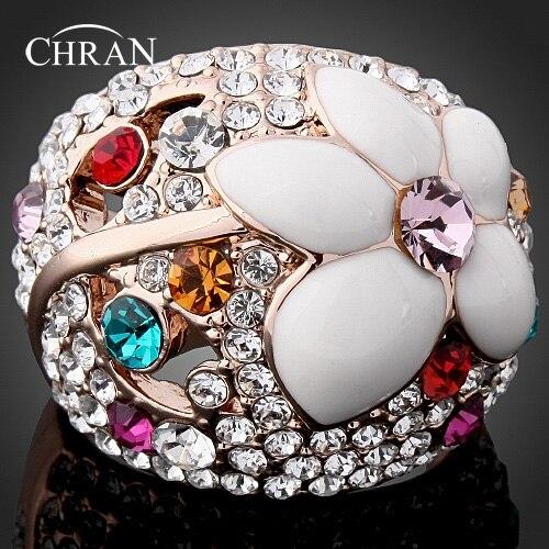 Chran Романтический Эмаль Цветок Дамы Юбилей Кольца для Для женщин Classic Gold Цвет сияющий кристалл обещал Кольца ювелирные изделия