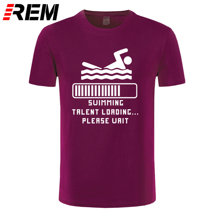 REM SWIMMING TALENT LOADING Funny Print Men T Shirts Fashion Cotton Short Sleeve Cool Hip Hop Streetwear Men/'s Sportsw Top Tees