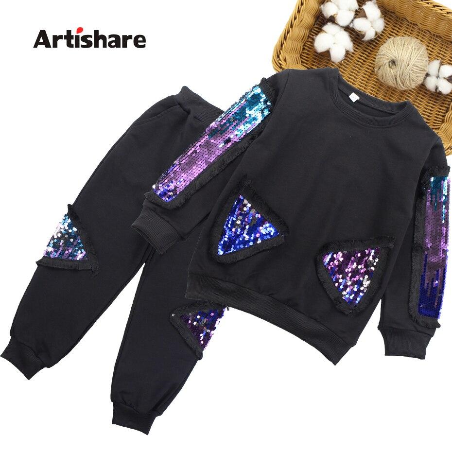 Garments For Women Sequins Sweatshirt + Pants 2Pcs Lady Clothes Set Autumn Winter Informal Women Sport Garments Set 6 8 10 12 13 14