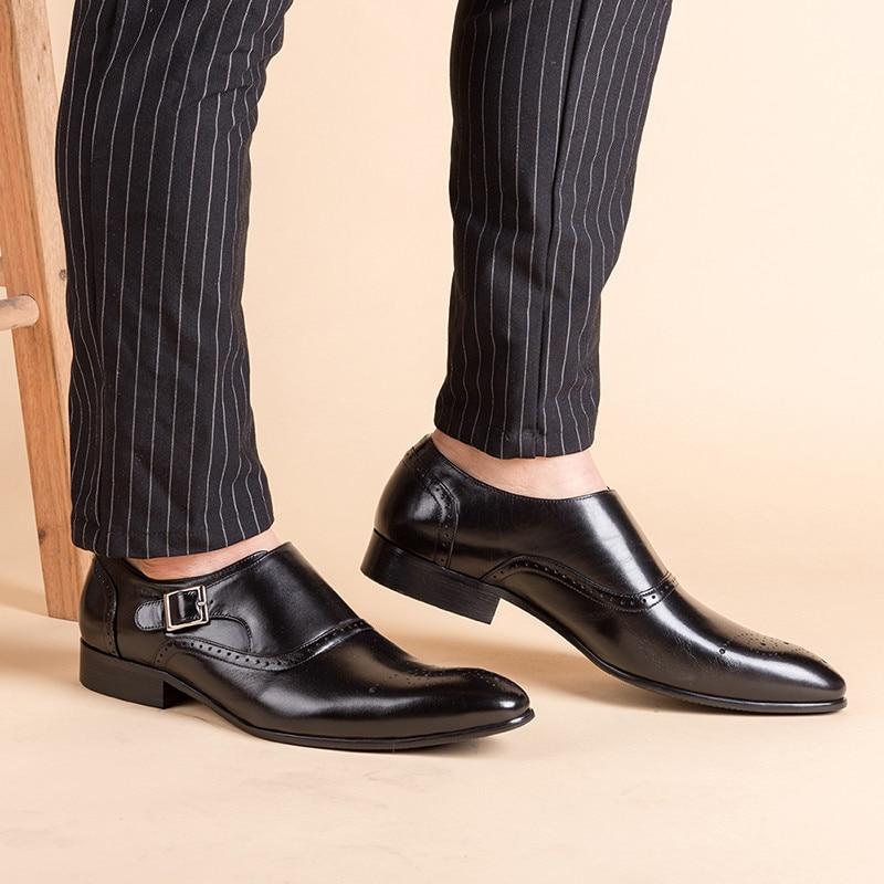 Formelle Oxford En Double Brown Brogue black Hommes Chaussures Mode Moine Cuir M162 De Vintage Robe Véritable Sangle Boucle Mariage IzfqwwZY
