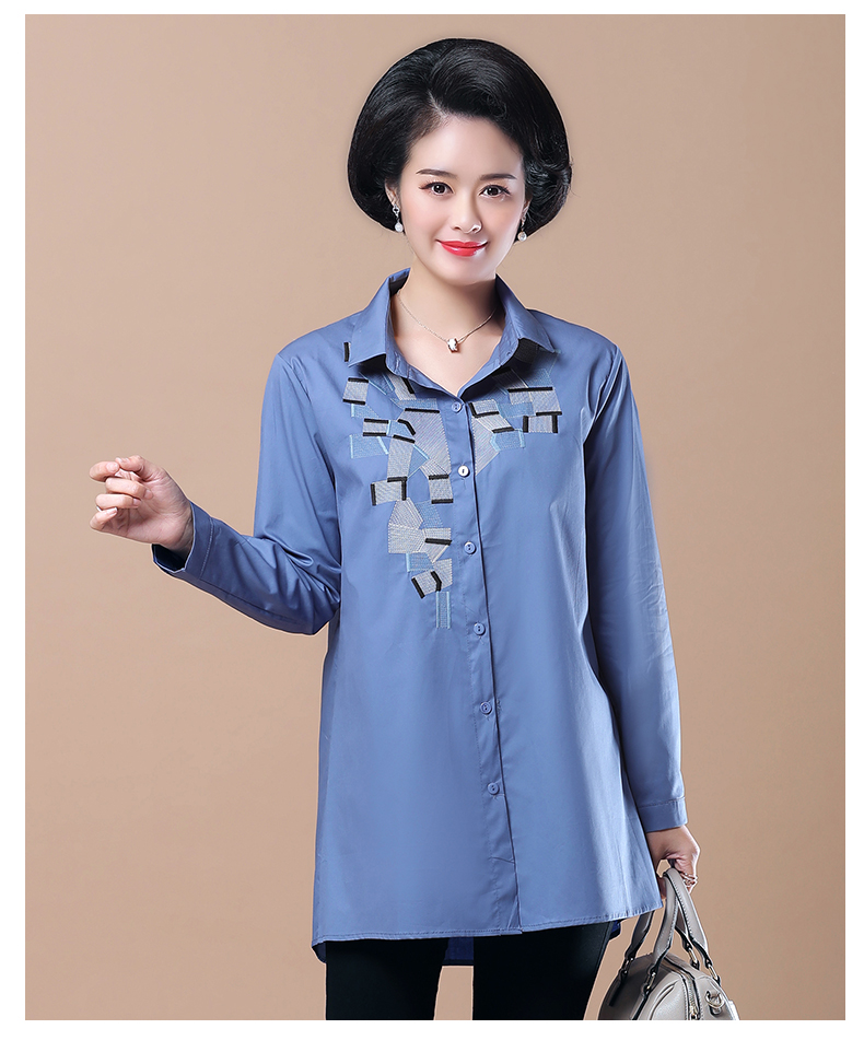 WAEOLSA Woman Casual Loose Shirt Blue Red Cotton Top Women Print Oversized Blouses Plus Size Top Lady Leisure Shirt Spring Autumn (5)