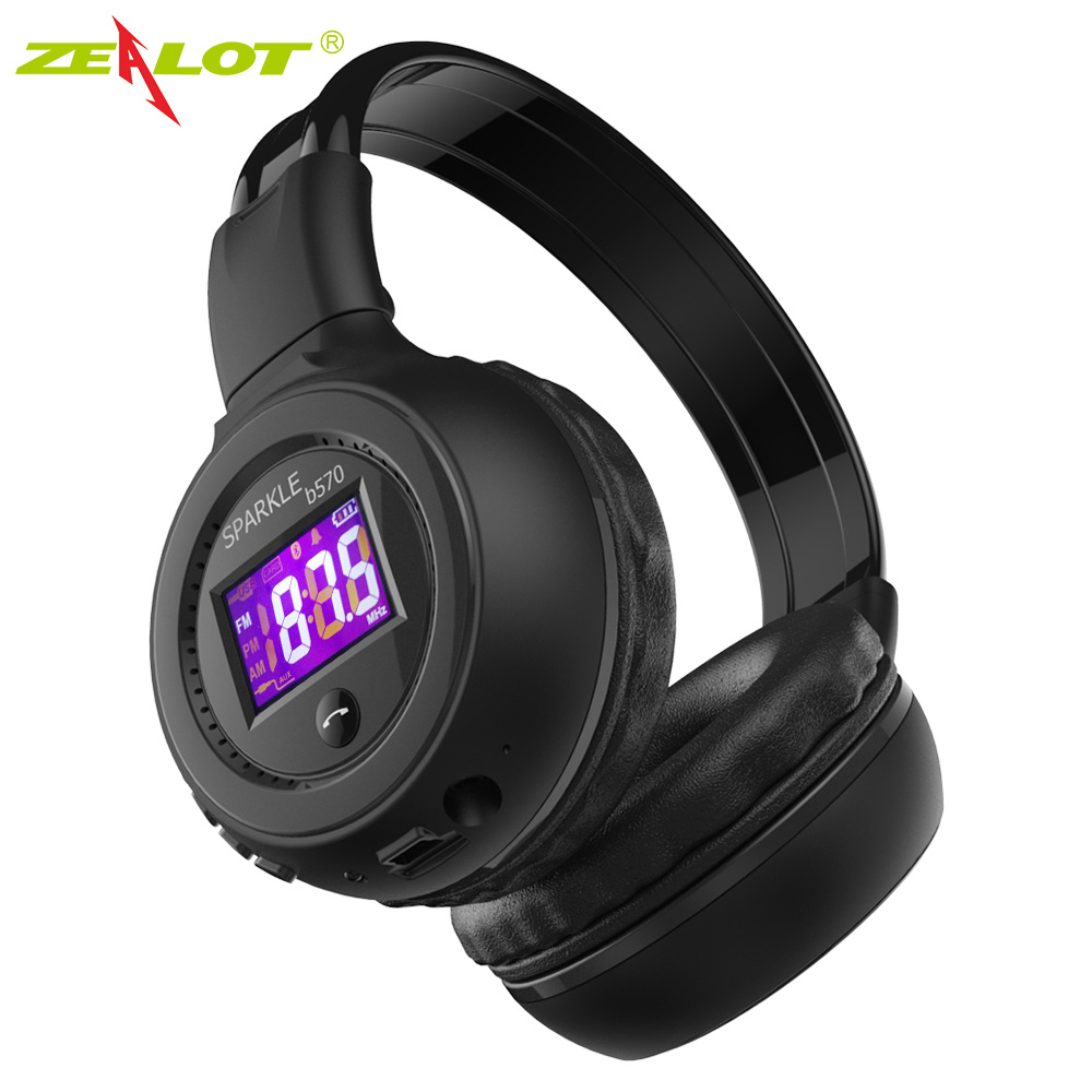Original ZEALOT B570 Foldable HiFi Stereo Headphones Wireless Bluetooth Headphone With LCD Screen FM Radio Micro-SD Slot Headset economic set original nia 8809s 8 gb micro sd card a set wireless headphone sport for tv with fm