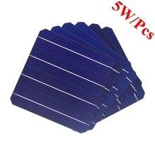 Painel solar fotovoltaico de 5w 156*156mm, célula de painel solar fotovoltaico de 6x6 graus a alta eficiência, com 10 peças painel de silicone para diy