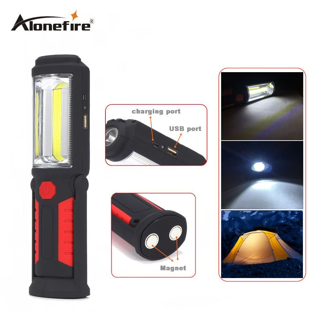 AloneFire C023 USB Rechargeable LED Flashlight Torch Work Light Stand COB lanterna Magnetic HOOK 18650 Battery Flashlights stand magnetic back flashlights torches with hook led worklight and lighting flashlight combo hand free tactical torch lanterna
