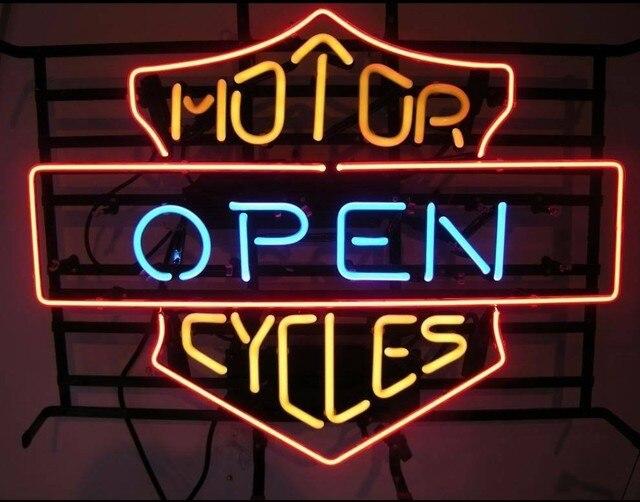 Custom Motor Open Cycles Glass Neon Light Sign Beer Bar