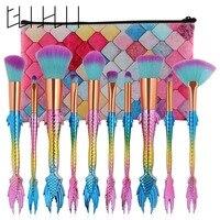 Pro 10Pcs Set Mermaid Shape Makeup Brushes Eyebrow Blush Foundation Contour Concealer Cosmetics Brushes Tool Kit