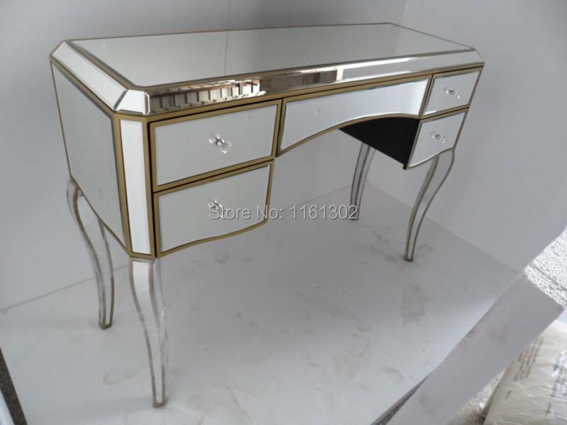 Antique Gold Rimming Mirrored Dressing Table(China)