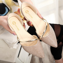 Fashion Hot Spring Summer font b Women b font Casual Sequins Pointed Toe Gold Sliver Loafers