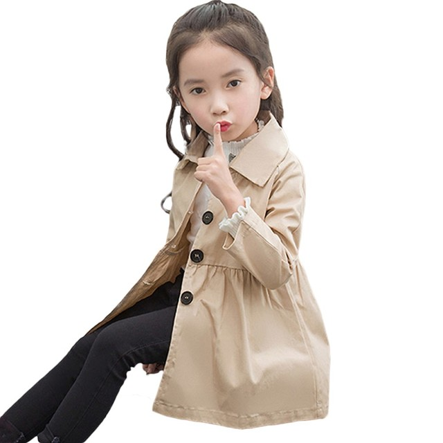 0dad2289f Spring Autumn England cotton baby girl windbreaker Solid color ...