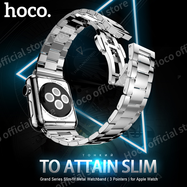 ORIGINAL HOCO Grand Series Slim-fit Metal Watchband 3 Pointers for Apple Watch iWatch 38 mm 42 mm Stainless steel 2.3mm