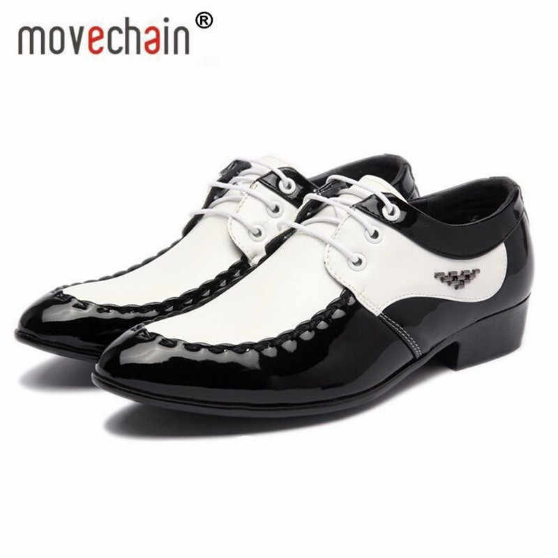 9ba0fef7ebe Fashion Men s Leather Lace-Up Dress Office Shoes Man Wedding Party Business Flats  Mens Black