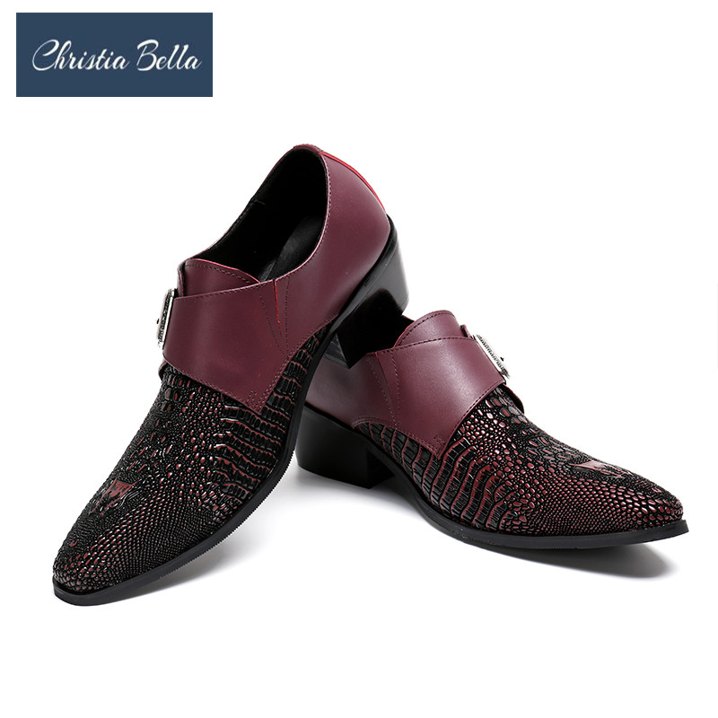 Christia Bella Plus Size 38-47 Full Grain Leather Men Dress Shoes Fashion Comfortable Hecrafted 2018 Men Shoes Brand Oxfords