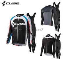 High Quality, CUBE 2015 #2 winter long sleeve clothes cycling jersey bib pants Shirt bike bicycle thermal fleeced wear set