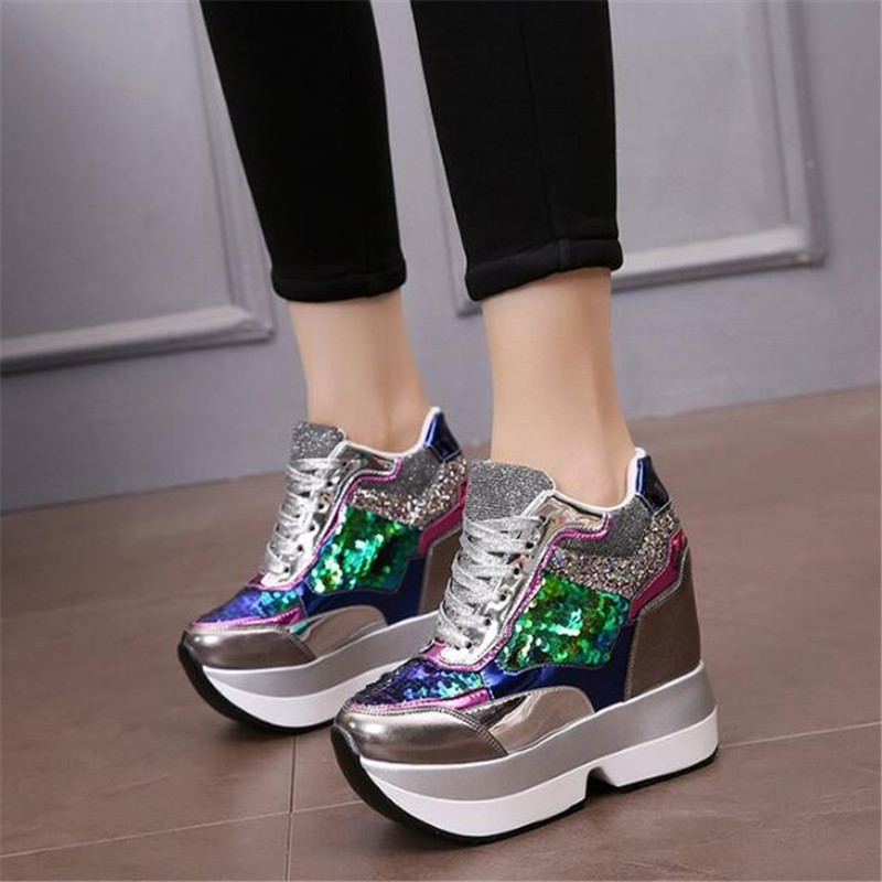 592315c12d48 Women High Platform Shoes 2019 Breathable Bling Shoes Women Height  Increasing Shoes 13 CM Thick Sole Trainers Women Sneakers-in Women s  Vulcanize Shoes from ...