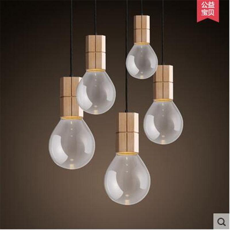 Modern Brief Europe Novel Wood Glass Bulb Design Led E27 Pendant Light for Restaurant Dining Room Bar Lamps AC80-265V 1513 creative design modern led colorful glass pendant lights lamps for dining room living room bar led g4 85 265v bubble glass light