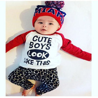 Newborn Baby Clothing Set Boy T Shirt Pant Kids 2017 Spring Autumn Outfits Set Infant Toddler