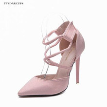 TTSDARCUPS New Rome style high heeled shoes women Pointed Suede Ankle Strap Hook & Loop pumps Sexy wedding shoes Big code 35-40 new europe popular street beat rivet shoes high heeled catwalk sexy rome ankle buckle strap pu heel 12cm woman pumps 6368w