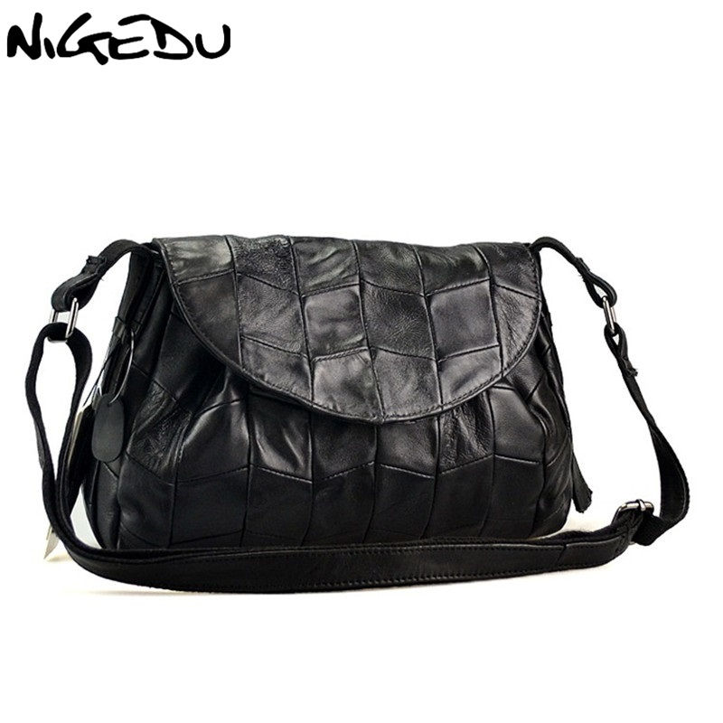 Fashion Sheepskin Patchwork Women's Crossbody Bags Soft Genuine Leather Women Shoulder Bag Messenger Bag Handbags Free Shipping