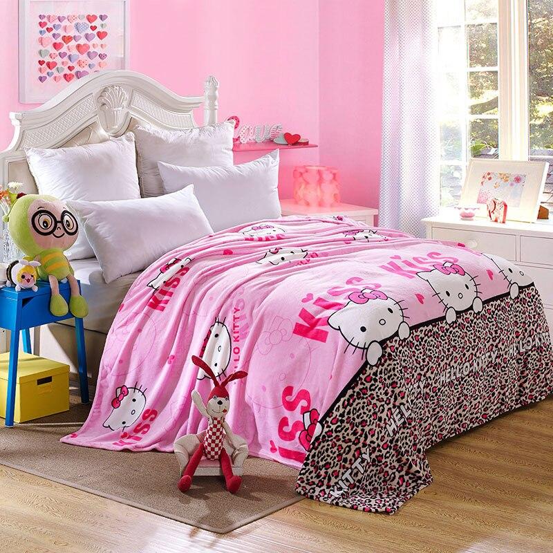 Kawaii рисунок «Hello Kitty» Одеяло мультфильм коралловый Флисовое одеяло бросить на кровать диван путешествия для взрослых/Дети Твин Полный queen King...