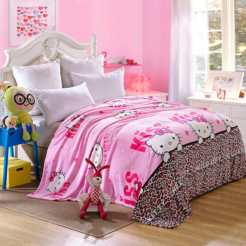 Kawaii Hello Kitty Blanket Cartoon Coral Fleece Blanket Throw on Bed Sofa Travel for Adult/kids Twin Full Queen King Hot Sale