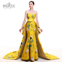 2018 New Arrival 3D Floral Print Long Evening Prom Dresses Mermaid Strapless Sweep Train Satin Open Back Formal Gown