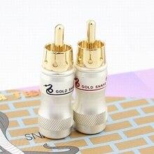10 pçs/lote diy ouro cobra rca plug alta fidelidade goldplated cabo de áudio rca macho áudio conector de vídeo adaptador de ouro para cabo