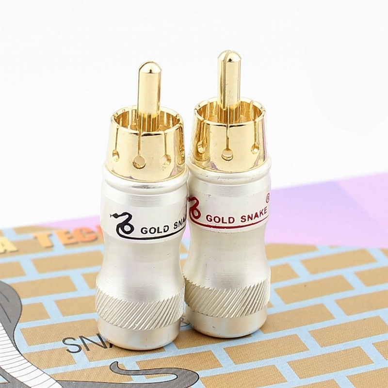 10pcs/lot DIY Gold Snake RCA Plug HIFI Goldplated Audio Cable RCA Male Audio Video Connector Gold Adapter For Cable