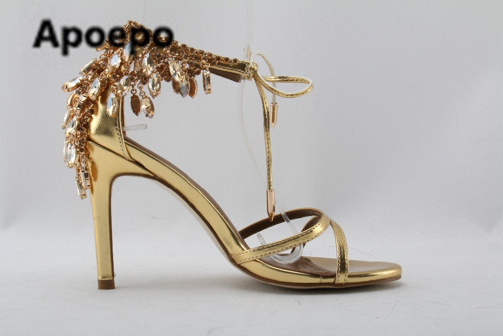 38ea127ce90 sales brand gold Rhinestone party shoes summer sandals female finger sexy  high heels shoes women luxury sandalen dames bride-in High Heels from Shoes  on ...