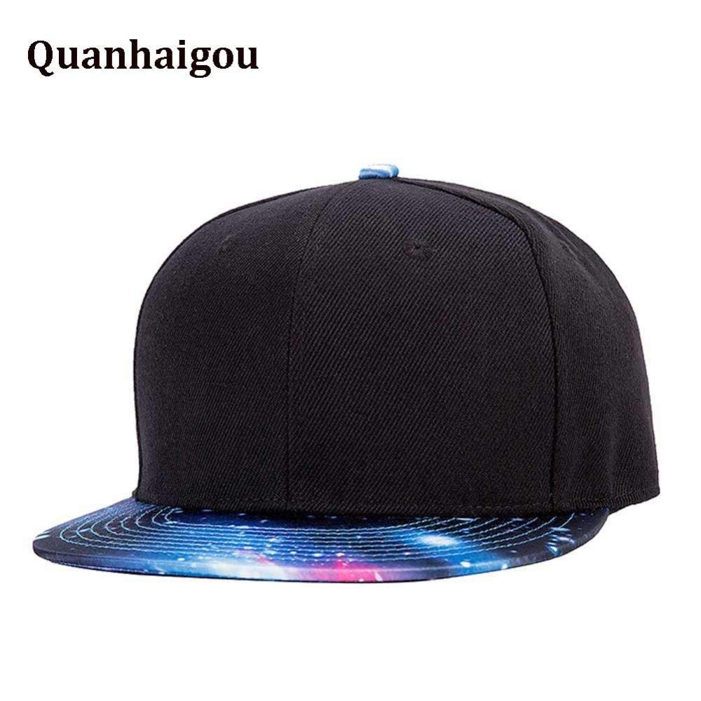 17b6249a8d1 Black With Blue Galaxy Adjustable Baseball Caps , Men's Hip Hop Snapback  Flat Bill brim Hats