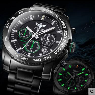 Yelang Men Kinetic Watch Solar Power Drive Tritium Light T100 Japan Movement WR100M Sapphire Date Energy Display Military Quartz