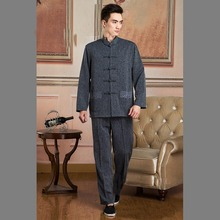 Chinese Tradtional Costume Mens Linen Suit  Dark Gray Coat Size M-3XL
