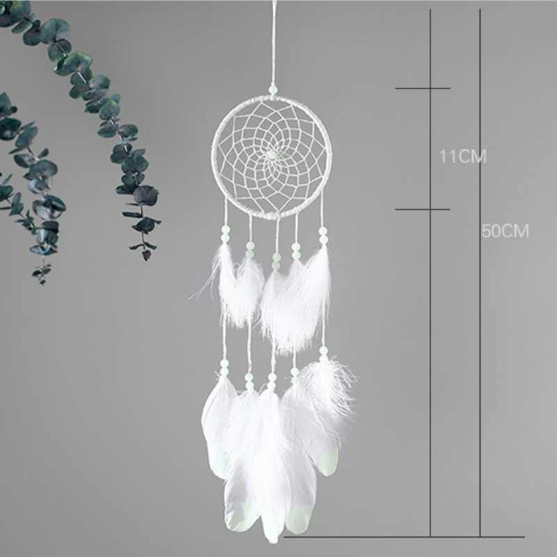 Handmade Dreamcatcher Wind Chimes Indian Style Feather Pendant Dream Catcher Car Hanging Kids Room Decoration Glow In The Dark in Wind Chimes Hanging Decorations from Home Garden