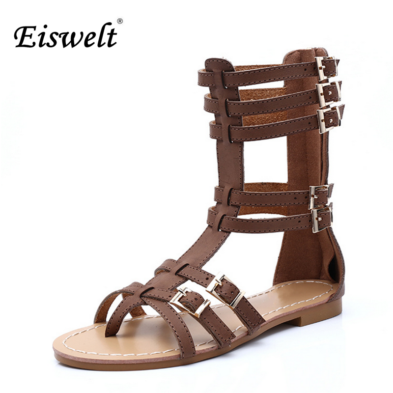 Eiswelt Hot Shoes Women Knee High Gladiator Sandals Hollow Out Size 35-43 Leather Summer Open Toe Flip Flops Flat Sandals#EGMJ51 2017 hot shoes women knee high gladiator sandals hollow jacket size 35 40 summer open toe black white flat sandals women