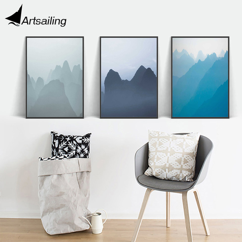 Nordic Wall Art Blue Mountain Landscape Canvas Painting
