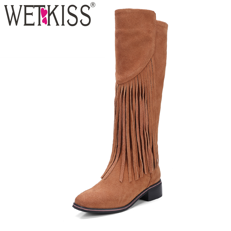 купить WETKISS Natural Leather Suede Winter Boots Designer Tassel Knee Boots Side Zipper Women Shoes Square Heel Female Shoes 2018 New дешево