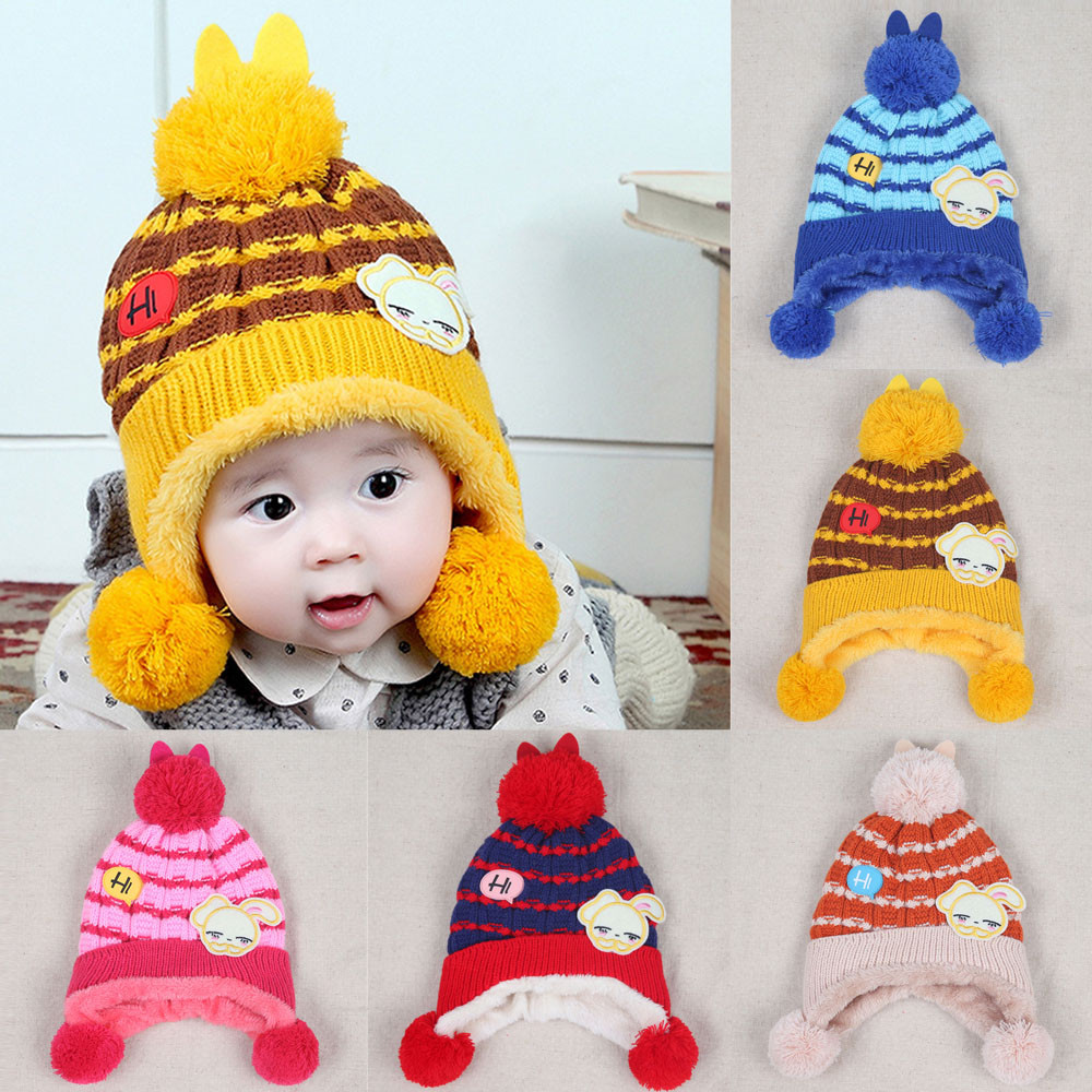 Baby Boys Girls Beanie Letter HI Rabbit Knitting Cotton Hat Children Print Hats baby Care ear Hair ball cap keep warm outdoor
