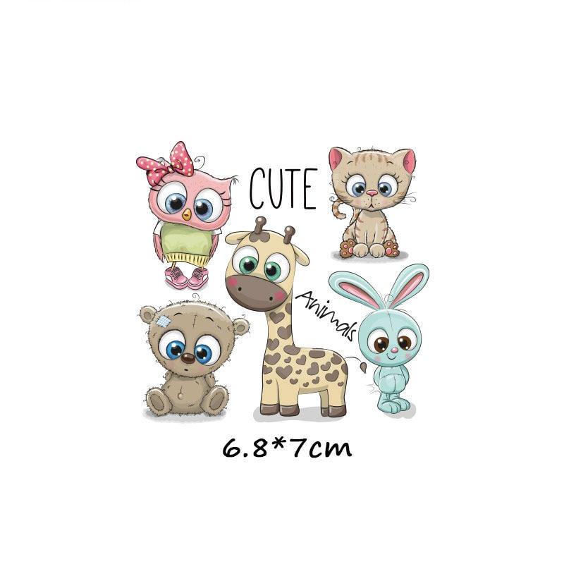 Милые маленькие животные Единорог Сова собака кошка патч для одежды стикер для детей мальчик девочка DIY патчи Футболка теплопередача Винил - Цвет: zt1031