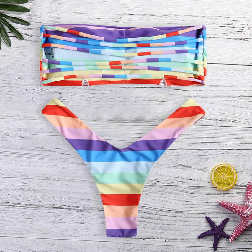 2018 Tremdy Women Push-up Padded Bra Rainbow Color Striped Bikini Set Female Ladies Beach Swimsuit Off-Shoulder Bathing Suit pink solid color off shoulder crop bodycon sweaters vests