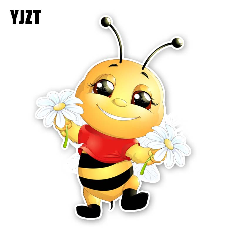 YJZT 14CM*18.2CM A Happy Little Bee PVC Originality Car Sticker Decal 12-300560