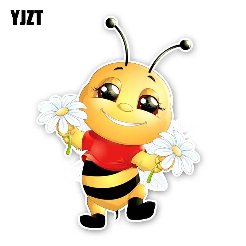 YJZT 14CM*18.2CM A Happy Little Bee PVC Originality Car Sticker Decal 12-300560
