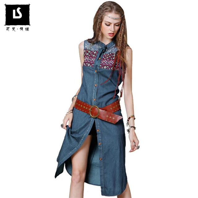 b07c92ed2893 Brand original design Women Dresses 2018 Summer cotton cardigan vintage  hollow embroidered vest denim dress Leisure Travel Dress