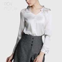 Elegant hollow out lace spliced office ladies natural silk tops and blouses black white real silk shirt tops camisa blusa LT1980
