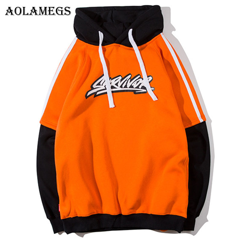 Aolamegs Hoodies Men Letter Print Hooded Pullover High Street Fake Two Pieces Fashion Hip Hop Streetwear O-neck Hoodie Autumn