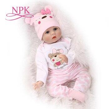 55 cm 소프트 바디 실리콘 bebes 다시 태어난 아기 인형 장난감 신생아 아기 생일 선물 취침 시간 조기 교육 크리스마스 선물