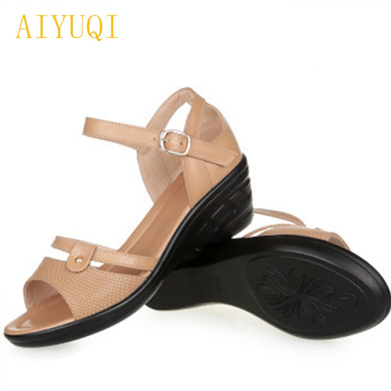 AIYUQI Big size 41#42#43# women sandals 2018 new genuine leather women's wedges sandals comfortable casual mom shoes sandals aiyuqi 2018 spring new genuine leather women shoes plus size 41 42 43 comfortable round head fashion handmade ladies shoes