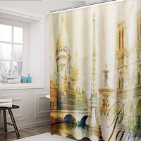 Bathroom 180x180cm Polyester Bath Shower Curtain Eiffel Tower Waterproof Mildew for Shower Room or Toilet Home Decor
