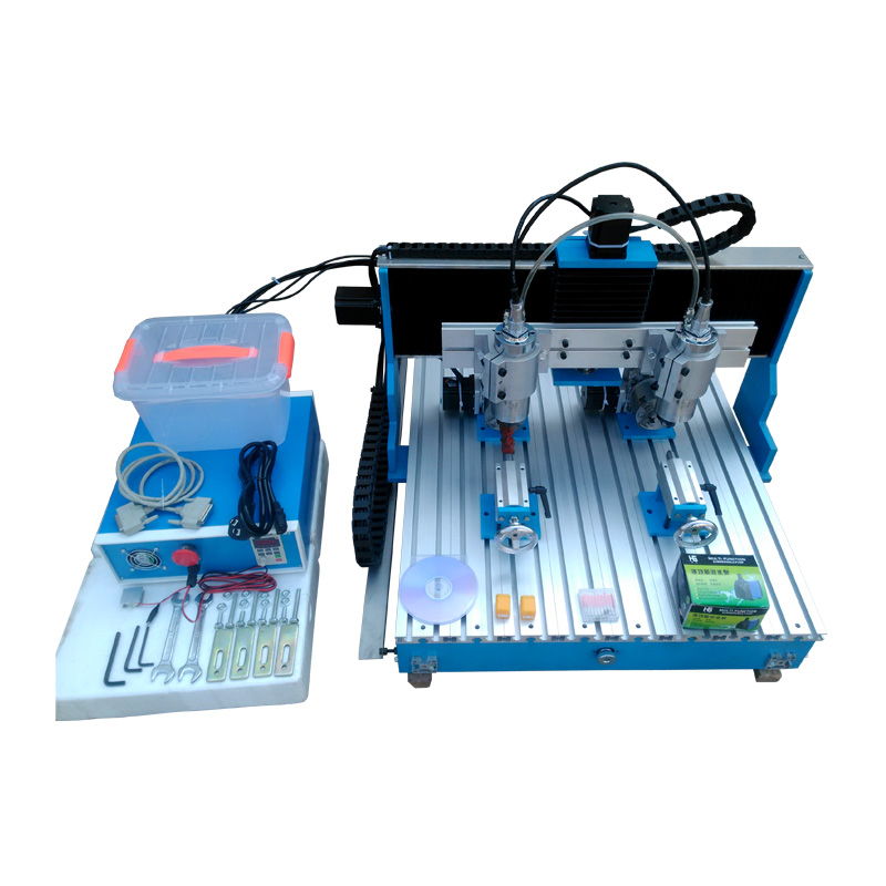 Two spindles 1500W CNC milling machine 6090 MACH3 9060 Linear guide rail CNC router cnc 5axis a aixs rotary axis t chuck type for cnc router cnc milling machine best quality